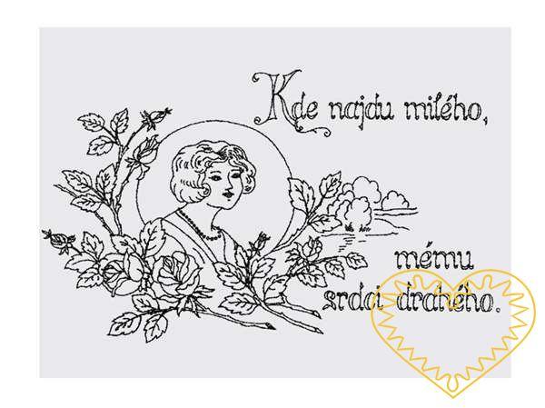 Nástěnná kuchařka - látková předloha vytištěná modře na bílé 100% bavlně pro vyšívání tradiční textilní dekorace. Hodí se hlavně do stylových interiérů. nápis: Kde najdu milého, mému srdci drahého