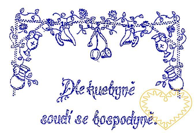 Nástěnná textilní kuchařka - Dle kuchyně soudí se hospodyně - tištěná předloha pro vyšívání tradiční textilní dekorace. Hodí se hlavně do stylových interiérů. Na předloze je vytištěno kuchyňské náčiní, rostlinný ornament a nápis: Dle kuchyně soudí se