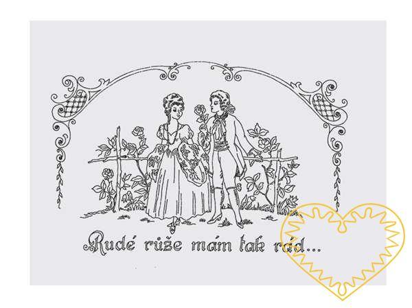 Nástěnná kuchařka - látková předloha vytištěná modře na bílé 100% bavlně pro vyšívání tradiční textilní dekorace. Hodí se hlavně do stylových interiérů. nápis: Rudé růže mám tak rád.