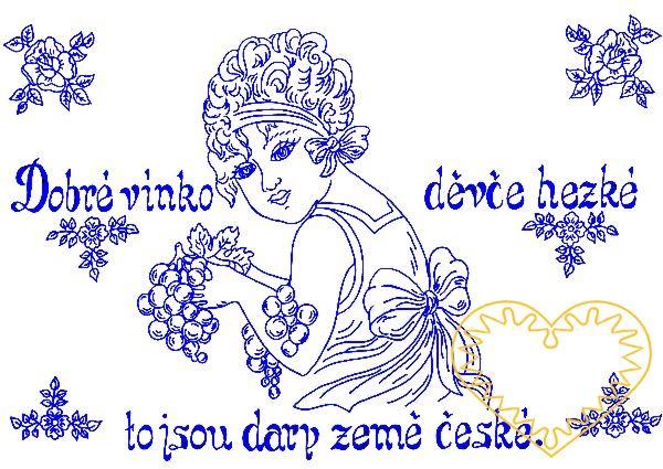 Nástěnná kuchařka - látková předloha vytištěná modře na bílé 100% bavlně pro vyšívání tradiční textilní dekorace. Hodí se hlavně do stylových interiérů. nápis: Dobré vínko - děvče hezké - to jsou dary země české.