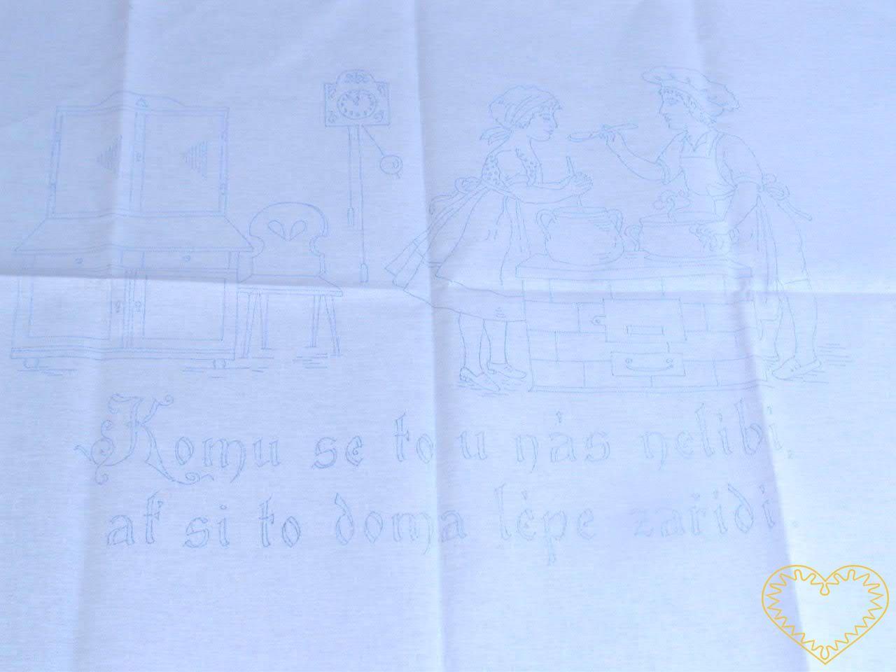 Nástěnná kuchařka - Abeceda - tištěná předloha pro vyšívání tradiční textilní dekorace. Hodí se hlavně do stylových interiérů. Na předloze jsou vytištěná velká ozdobná písmena abecedy a číslice od 0 do 9.rozměr: 80 x 60 cm