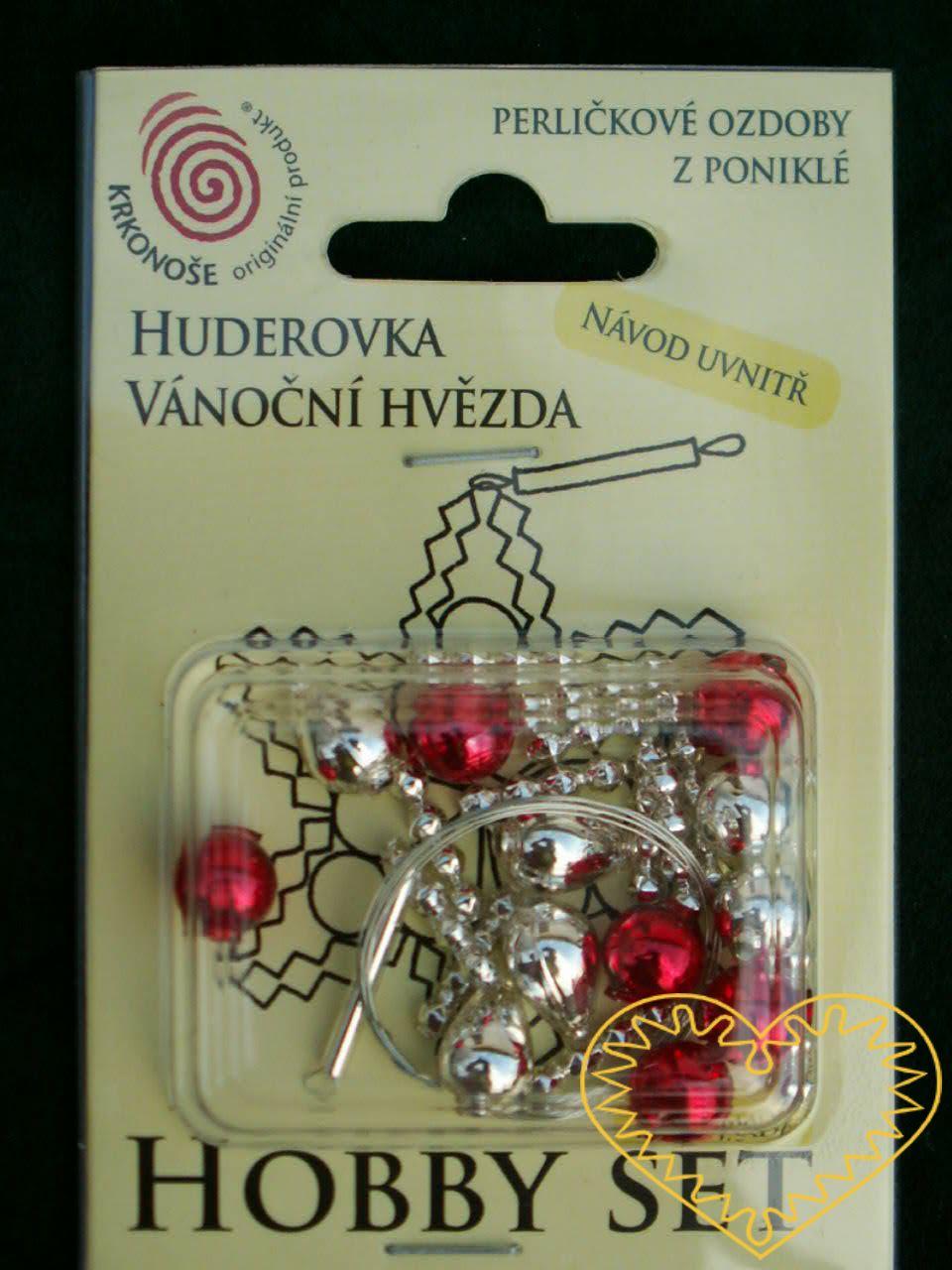 Hobby set - vánoční hvězda huderovka - stříbrno červená. Chcete si sami vyrobit vlastní vánoční skleněnou ozdobu? Nebo někomu věnovat milý tvořivý dáreček? K tomu Vám výborně poslouží tento hobby set. Každé balení obsahuje veškerý potřebný materiál k