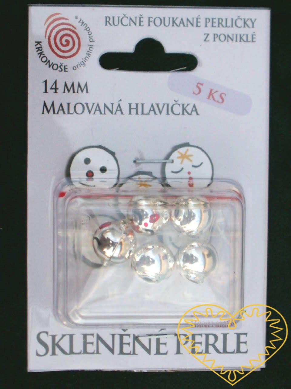 Ručně foukané a malované lesklé skleněné perle - znázorňující zpívající obličej - ø 14 mm. Hlavičky jsou baleny v plastovém blistru po 5 ks s možností závěsu. Jedná se o komponenty určené pro výrobu figurek a vánočních ozdob. Vzhledem k ostrým hranám