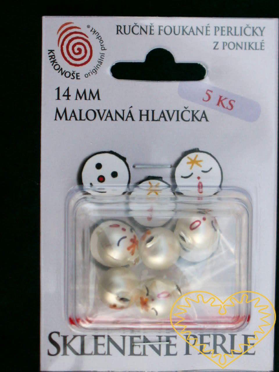 Ručně foukané a malované matné skleněné perle - znázorňující obličej - ø 14 mm. Hlavičky jsou baleny v plastovém blistru po 5 ks s možností závěsu. Jedná se o komponenty určené pro výrobu figurek a vánočních ozdob. Vzhledem k ostrým hranám skl