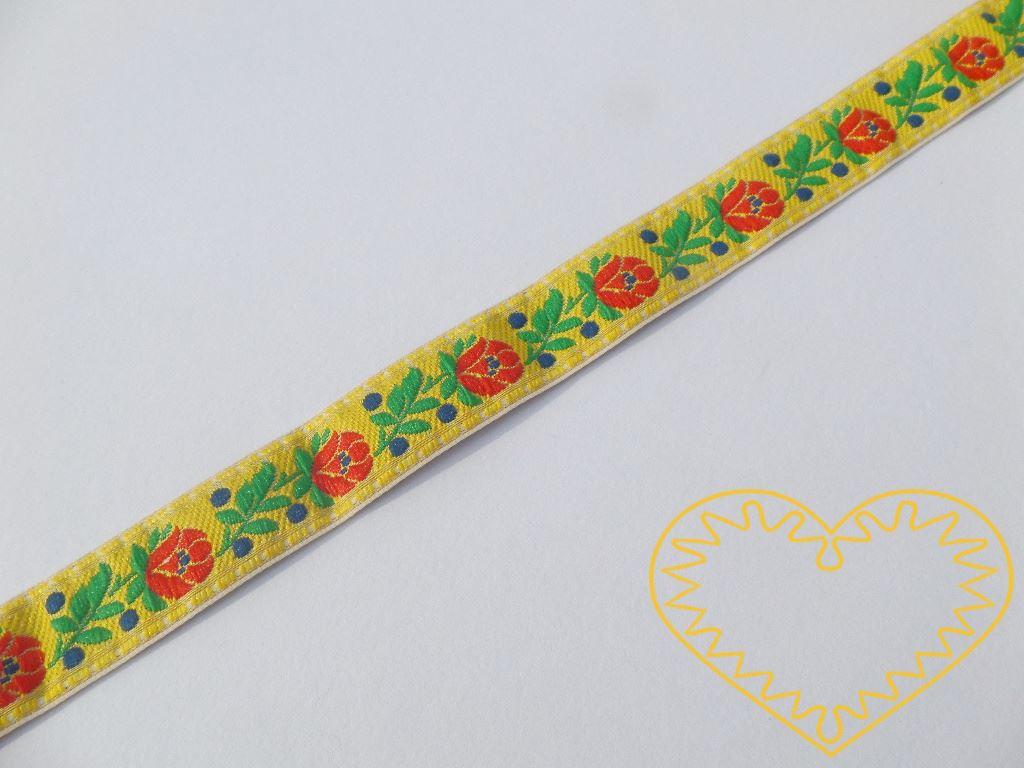 Žlutá krojová stuha se vzorem - vzorovka - šíře 1,8 cm. Textilní tkaná stuha s jemným vzorkem je vhodná zvláště k lemování tkanin a šatů panenek a maňásků.