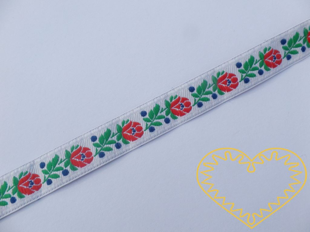 Bílá krojová stuha se vzorem - vzorovka - šíře 1,8 cm. Textilní tkaná stuha s jemným vzorkem je vhodná zvláště k lemování tkanin a šatů panenek a maňásků.