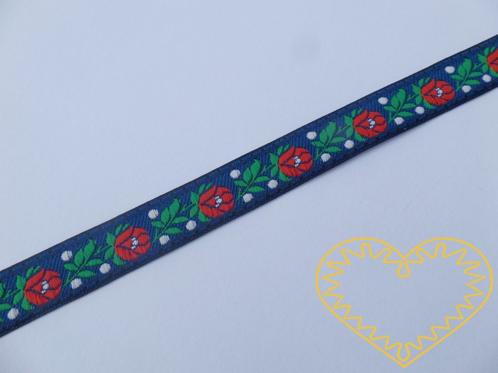 Modrá krojová stuha se vzorem - vzorovka - šíře 1,8 cm. Textilní tkaná stuha s jemným vzorkem je vhodná zvláště k lemování tkanin a šatů panenek a maňásků.