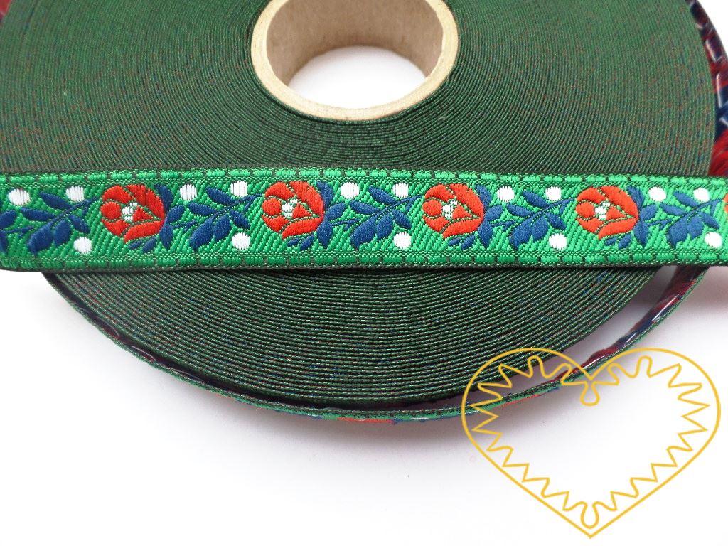 Zelená krojová stuha se vzorem - vzorovka - šíře 1,8 cm. Textilní tkaná stuha s jemným vzorkem je vhodná zvláště k lemování tkanin a šatů panenek a maňásků.
