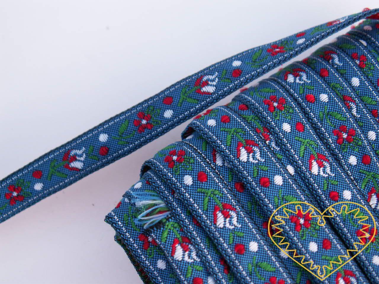 Úzká modrá krojová stuha - vzorovka - šíře 1 cm. Textilní tkaná stuha s jemným vzorkem je vhodná zvláště k lemování tkanin a šatů panenek a maňásků.
