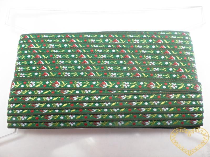 Tmavě zelená krojová stuha se vzorem - vzorovka - šíře 1 cm. Textilní tkaná stuha s jemným vzorkem je vhodná zvláště při výrobě krojů a předmětů tradiční lidové kultury. Vhodná též k lemování tkanin a šatů panenek a maňásků.