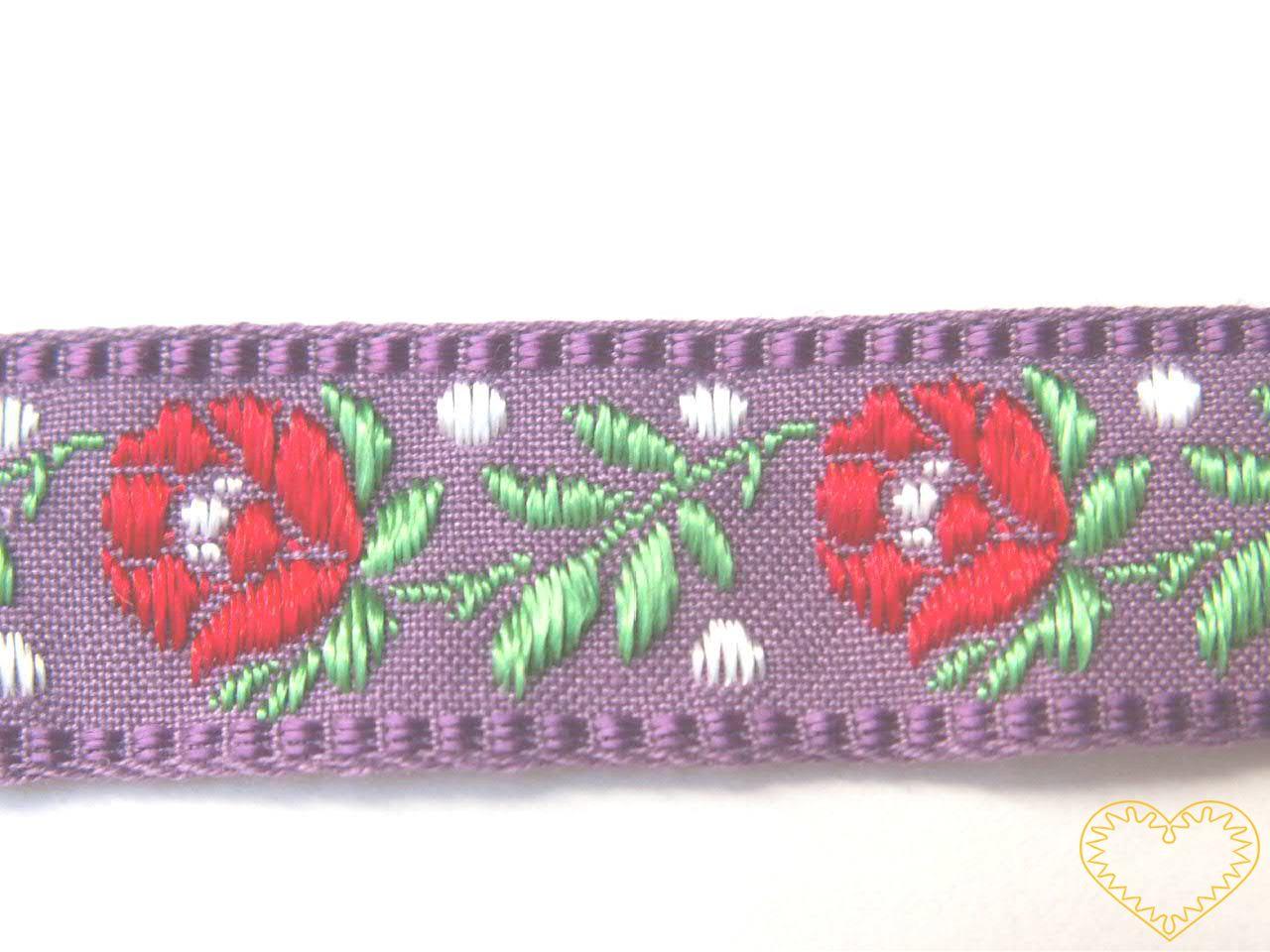 Fialová krojová stuha se vzorem - vzorovka - šíře 1,8 cm. Textilní tkaná stuha s jemným vzorkem je vhodná zvláště k lemování tkanin a šatů panenek a maňásků.