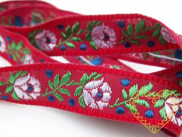 Červená krojová stuha se vzorem - vzorovka - šíře 1,8 cm. Textilní tkaná stuha s jemným vzorkem je vhodná zvláště k lemování tkanin a šatů panenek a maňásků.