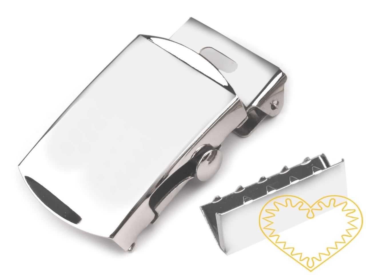 Kovová spona s koncovkou je určená na výrobu popruhových (látkových) opasků. Spona má na jedné straně zoubky, které popruh dobře zafixují a přidrží, takže materiál nebude prokluzovat. Koncovku připevněte kleštěmi na konec opasku.