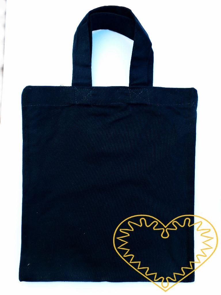 Malá plátěná taška tmavě modrá, vyšší gramáž. Taška je vhodná pro potisk, malování a jiné výtvarné techniky. Lze na ni malovat texilními barvami (i nafukovacími), fixy na textil, textilními voskovkami. Můžete použít i nejrůznější šablony. Vhodné k na