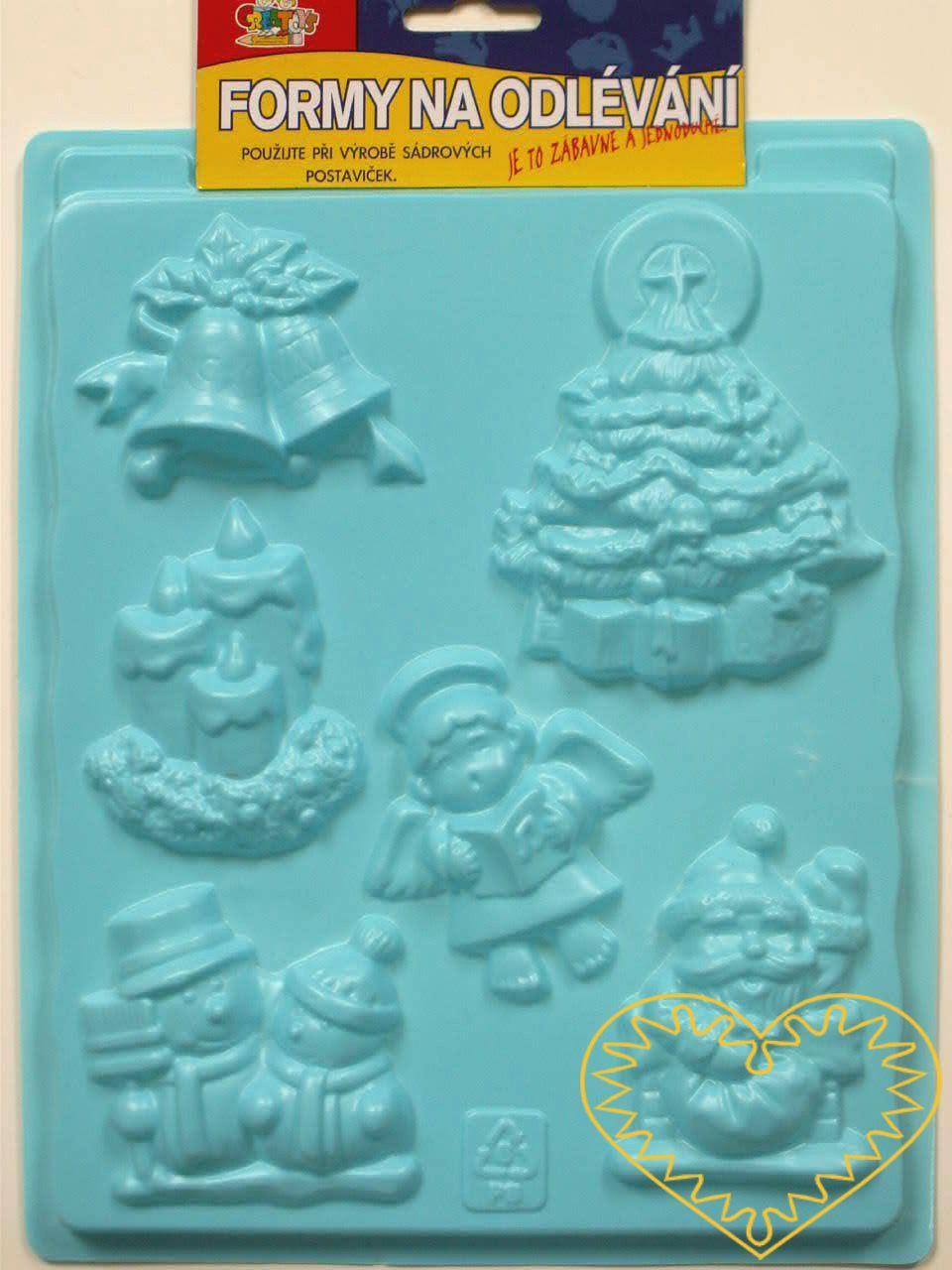 Plastová forma se šesti motivy, vhodná na odlévání ze sádry, na vytlačování modelovacích hmot apod. Motivy: šest různých dopravních prostředků. Po zaschnutí lze odlitek vybarvit vodovými či akrylovými barvami, popř. nalakovat. Prima zábava pro děti i