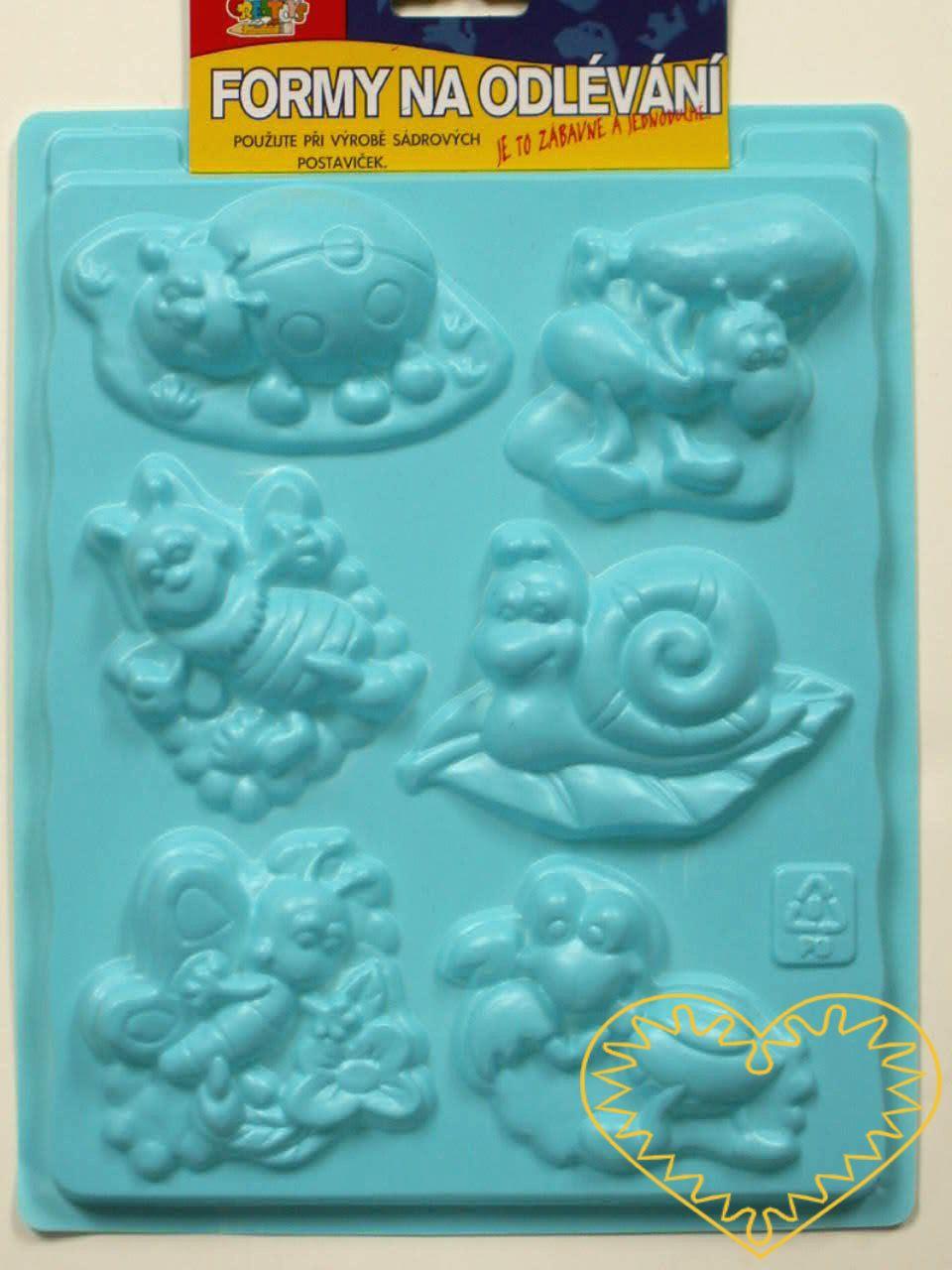 Plastová forma - hmyz - se šesti motivy, vhodná na odlévání ze sádry, na vytlačování modelovacích hmot apod. Motivy: beruška, mravenec, brouci, hlemýžď, motýl. Po zaschnutí lze odlitek vybarvit vodovými či akrylovými barvami, popř. nalakovat. Prima z