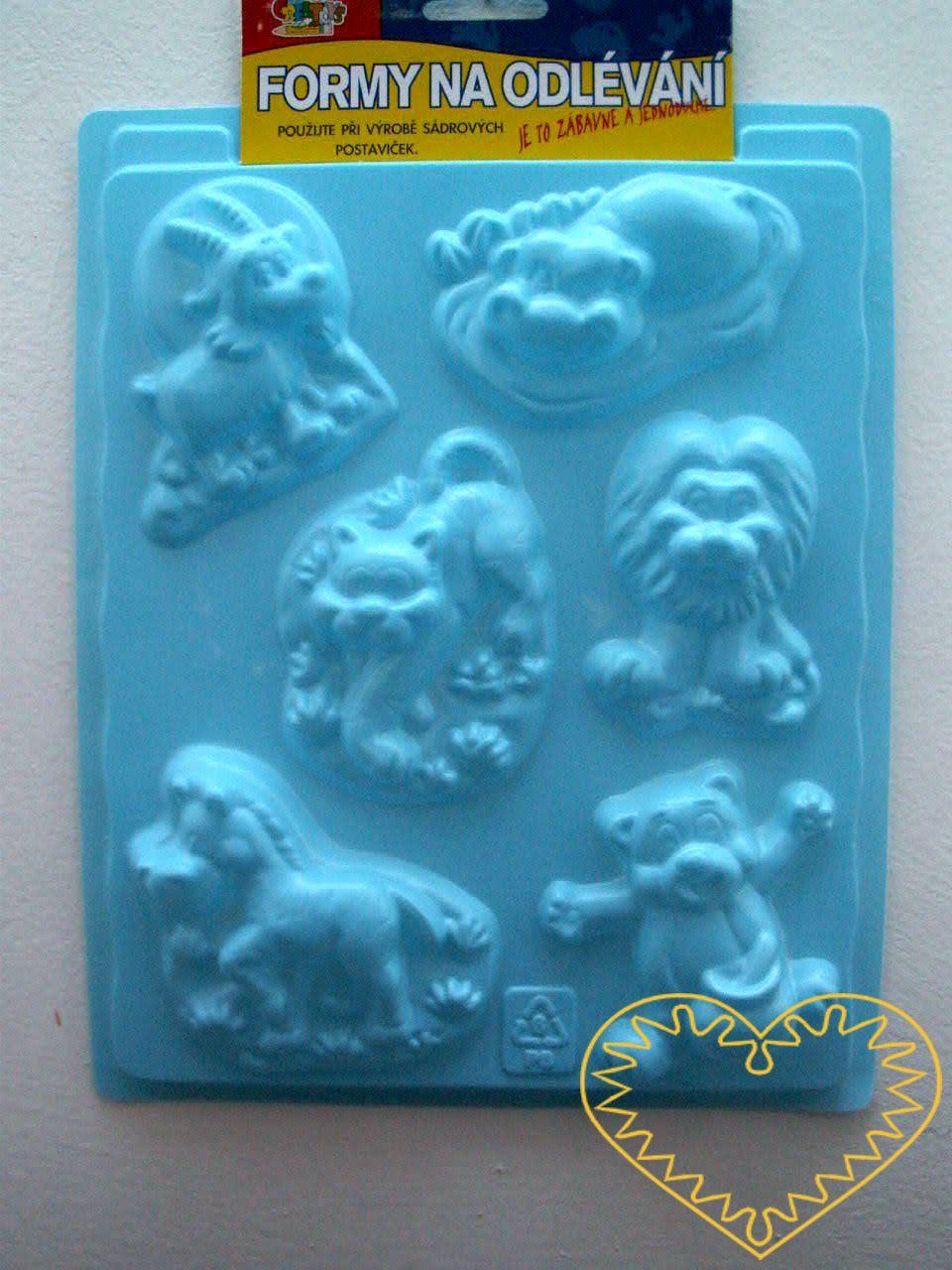Plastová forma se šesti motivy, vhodná na odlévání ze sádry, na vytlačování modelovacích hmot apod. Motivy: kozel, hroch, kocour, lev, koník, medvěd. Po zaschnutí lze odlitek vybarvit vodovými či akrylovými barvami, popř. nalakovat. Prima zábava pro