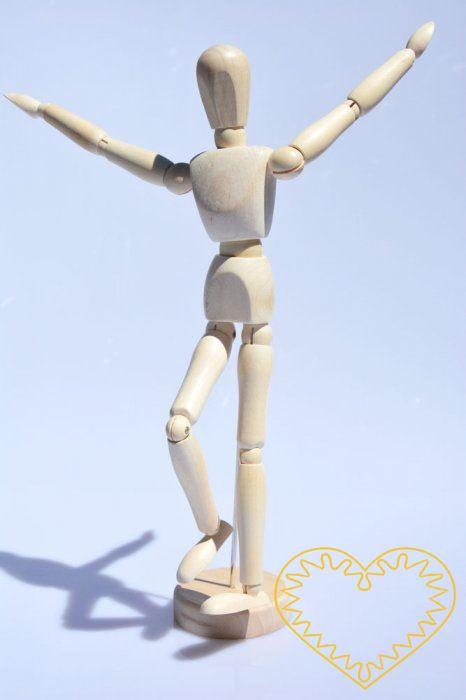 Dřevěný pohyblivý model postavy - výška 30 cm. Figurína se14-ti pohyblivými klouby stojí na dřevěném podstavci. Může představovat chůzi, pozdrav, běh apod. Vhodné k výuce kreslení i pro dekoraci.