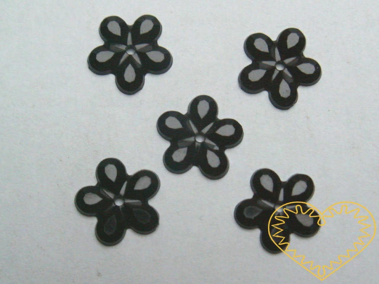 Našívací kytičky černé Ø 11 mm -20 ks. Vhodné k dekorování tašek, kabelek, triček, klobouků, čepic, bot, bytového textilu, při výrobě maňásků, panenek, přáníček ad.