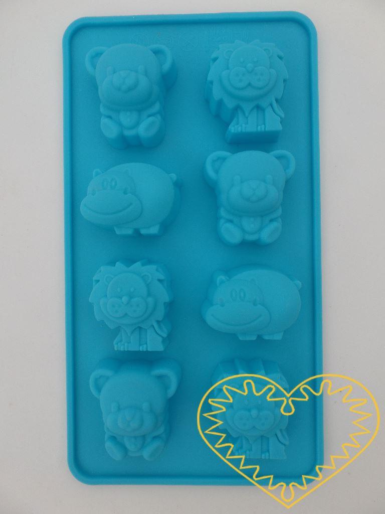 Silikonová forma vhodná na výrobu mýdel. Forma obsahuje 8 zvířátek - 3x lev, 3x medvěd, 2x hroch.