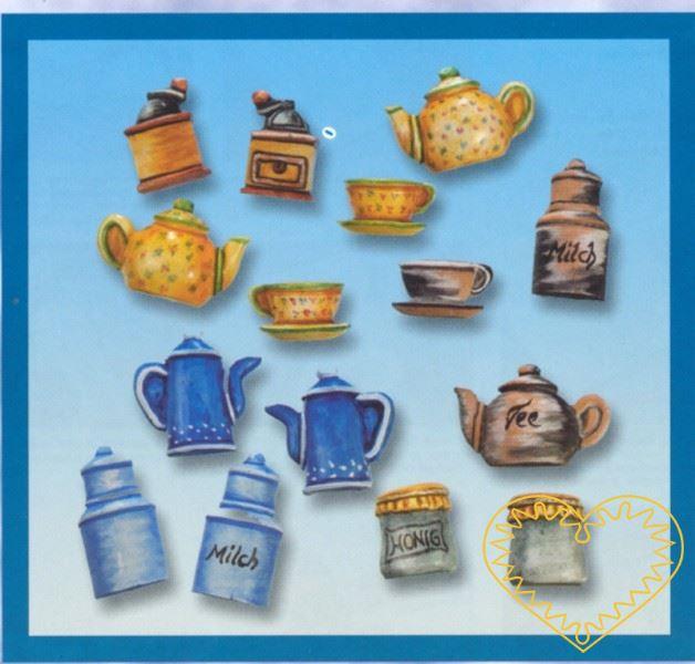 Plastová forma se šesti motivy, které se dvakrát opakují, vhodná na odlévání ze sádry, na vytlačování měkkých modelovacích hmot apod. Motivy: 2x nízká čajová konvice, 2x vysoká konvice, 2x kávomlýnek, 2x hrníček, 2x sklenice s řasenou textilií na víč