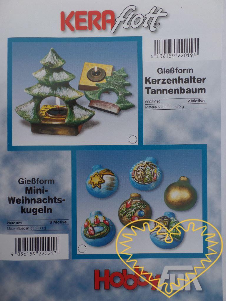 Plastová forma se šesti motivy, vhodná na odlévání ze sádry, na vytlačování měkkých modelovacích hmot apod. Motivem jsou vánoční ozdoby (koule): hladká, s kometou, betlémem, vánoční větvičkou, adventním svícnem, domem. Po zaschnutí lze odlitek vybarv