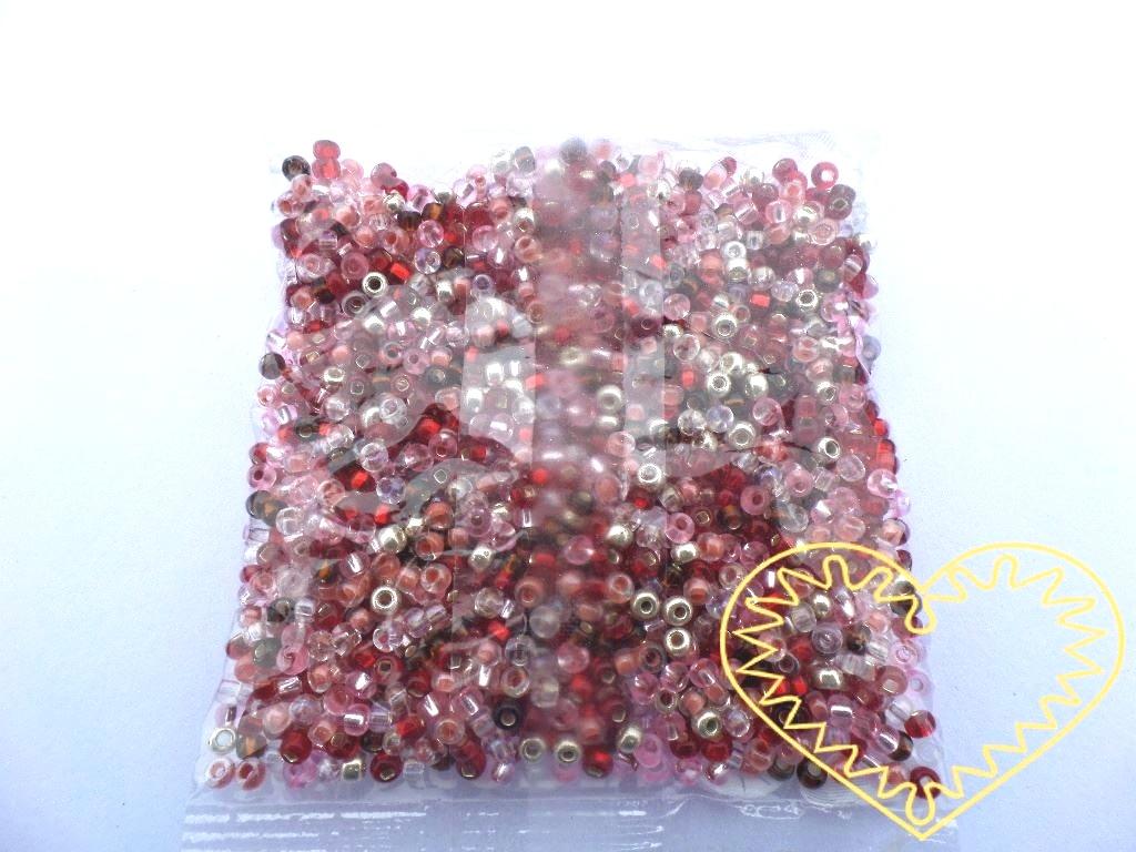 Skleněné korálky červený mix 3 mm - 50 g. Korálky jsou vhodné pro tvoření s dětmi, pro tvorbu bižuterie, drhání.