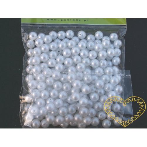Bílé plastové perličky 8 mm - 50 g. Korálky jsou vhodné pro tvoření s dětmi, pro výrobu bižuterie i dalších ozdob. Bílé perličky se také hodí k svatebním dekoracím a do svatebních kytic.