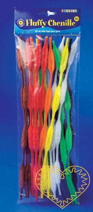 Modelovací chlupatý drátek twister - 50 ks. Ozdobné tvarovací drátky ve tvaru vlnek o délce 30 cm. Drátek je na některých mísech silnější, na jiných slabší. Díky tomu lze velmi snadno vytvořit různé květy, motýly, mašličky apod.