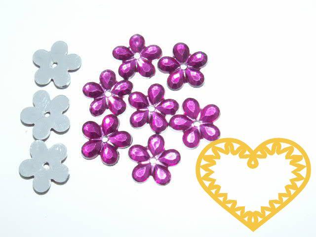 Našívací kytičky růžovofialové Ø 11 mm -20 ks. Vhodné k dekorování tašek, kabelek, triček, klobouků, čepic, bot, bytového textilu, při výrobě maňásků, panenek, přáníček ad.