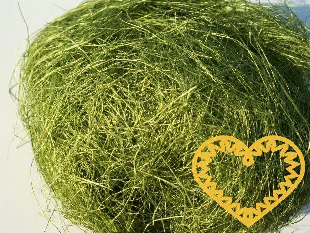 Sisal zelený oliva - 100 g (kokosové vlákno). Barvené kokosové vlákno, vhodné k dekoraci a aranžování živých či sušených květin, či květin z twist artu. Možno využít i jako vrchní výplň květináčů apod.