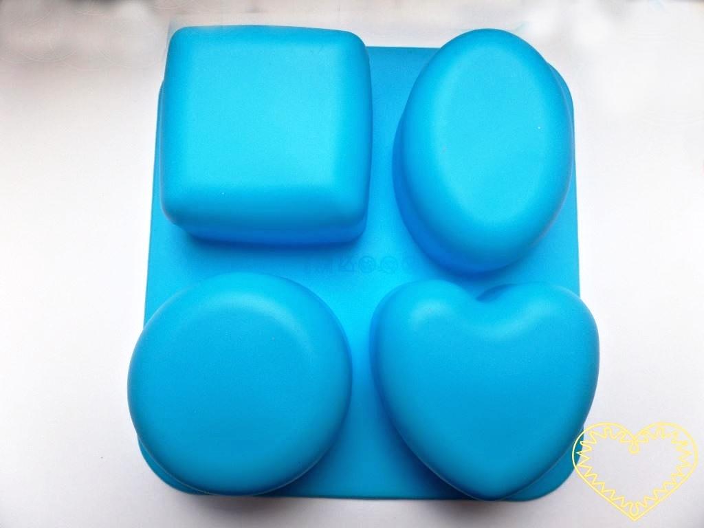 Silikonová forma ve tvaru 4 různých základních tvarů - čtverec ovál, srdce, kruh pro domácí výrobu mýdla z glycerínových mýdlových hmot i při metodě za studena. Dále při výrobě svíček, sádrových a pryskyřicových odlitků, šperků apod. Formu je možné p