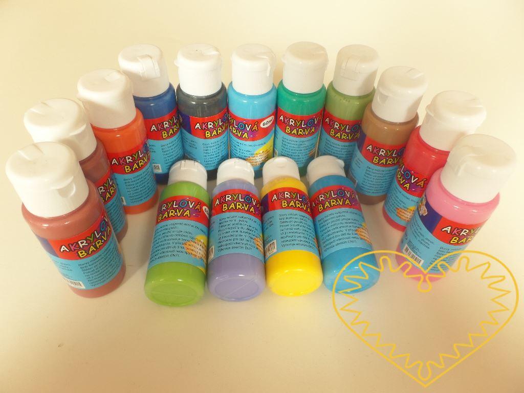 Akrylové barvy - sada 15 barev po 60 ml. Akrylové barvy mají široké uplatnění. Lze je použít na dřevo, keramiku, sklo, papír, plasty apod. Jsou vodou ředitelné. Barvy je možné vzájemně míchat k rozšíření barevné škály.