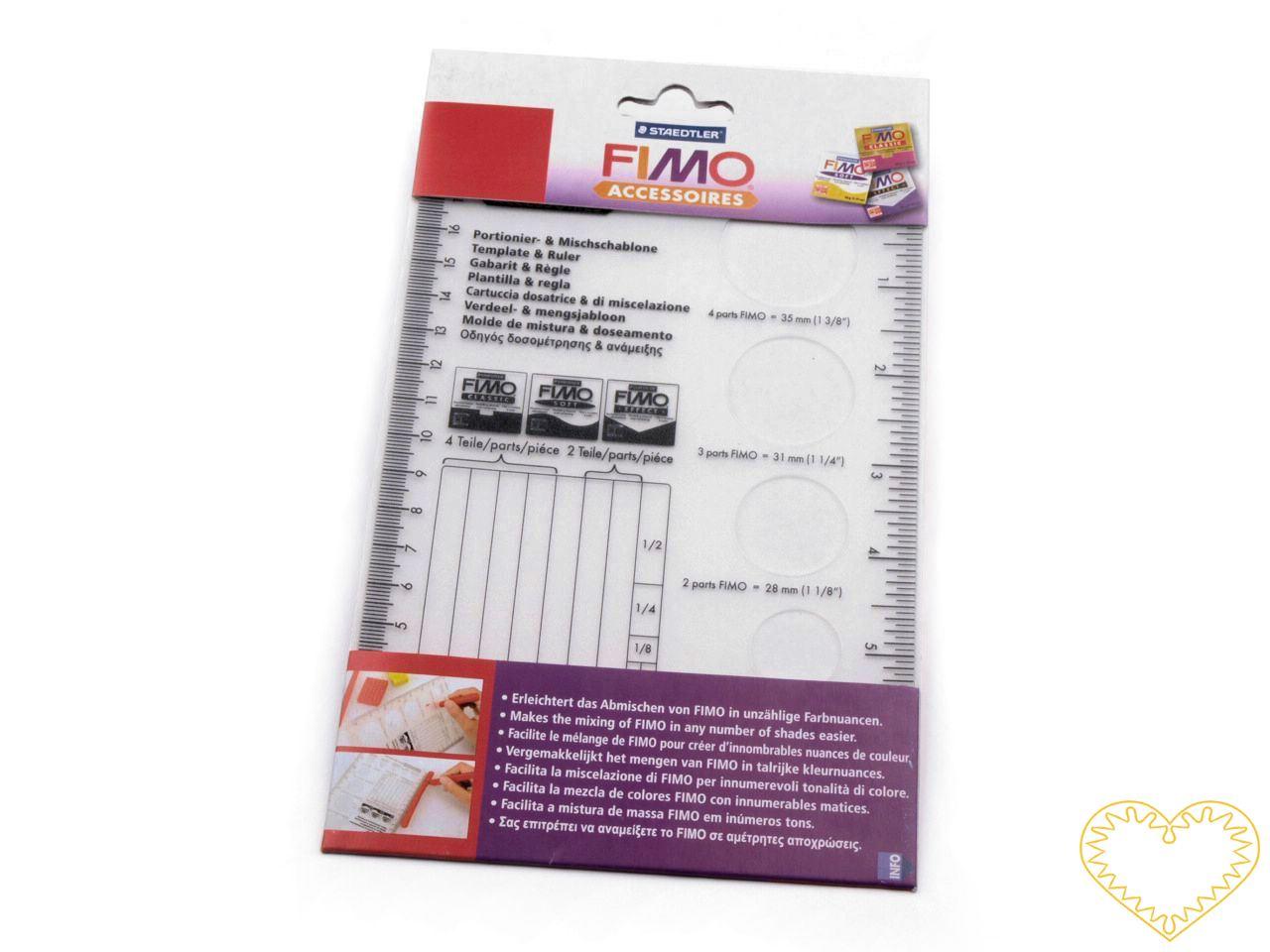 Šablona na míchání a zpracování hmoty FIMO. Jedná se o nástroj navržený speciálně pro práci s FIMO hmoutou. S touto šablonou snadno zvolíte správně poměry FIMO hmoty při míchání vlastních barev, nebo vyříznete přesné kruhové tvary. Bezpečná manipulac