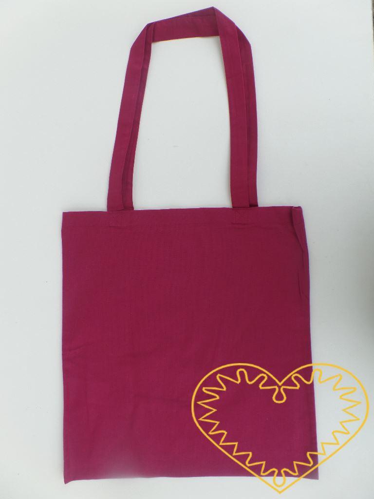Velká plátěná taška s dvěma uchy - barva claret, k pohodlnému nošení. Taška je vhodná pro potisk, malování a jiné techniky. Lze na ni malovat texilními barvami (i nafukovacími), fixy na textil, textilními voskovkami. Můžete použít i nejrůznější šablo