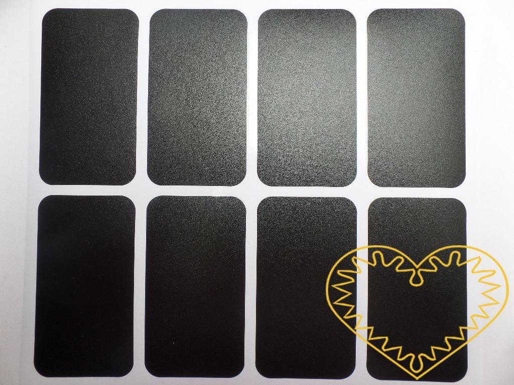 Tabulové samolepící štítky 24 ks. Tabulové štítky o velikosti 75 x 40 mm. Balení obsahuje 24 ks štítků stejné velikosti, které mají ze spodní strany samolepící vrstvu k snadnému uchycení na hladký povrch. Na štítky lze psát křídou.