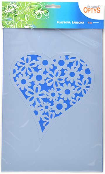 Plastová šablona ve tvaru květinového srdce. Šablona vhodná pro práci s textilními či akrylovými barvami a techniku savování. Šablonu lze upevnit k podkladu papírovou páskou nebo fixačním sprejem. Textil podložte nesavou podložkou, aby se zabránilo p