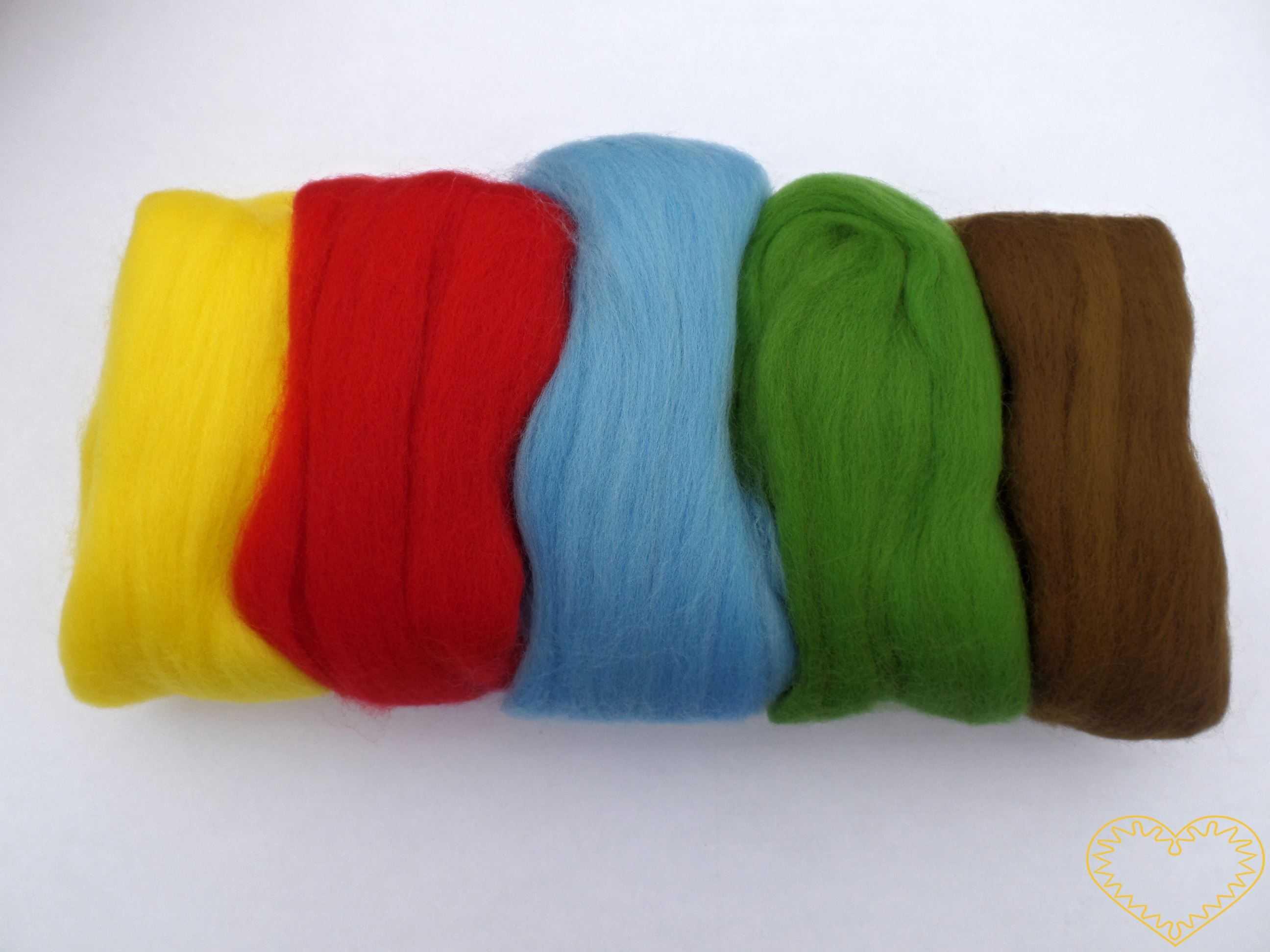Ovčí rouno barvené - česaná vlna - sada 5 barev (50 g). Krásná jemná vlna, jemnost 20-21 mic. Vhodné na plstění suché i mokré.