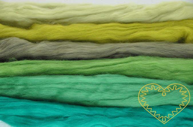 Ovčí rouno zelená sada - vlna 6 barev 100 g. Krásná jemná vlna zkombinovaná do 6 k sobě ladících zelených odstínů, jemnost 20-21 mic. Vhodné na plstění suché i mokré.