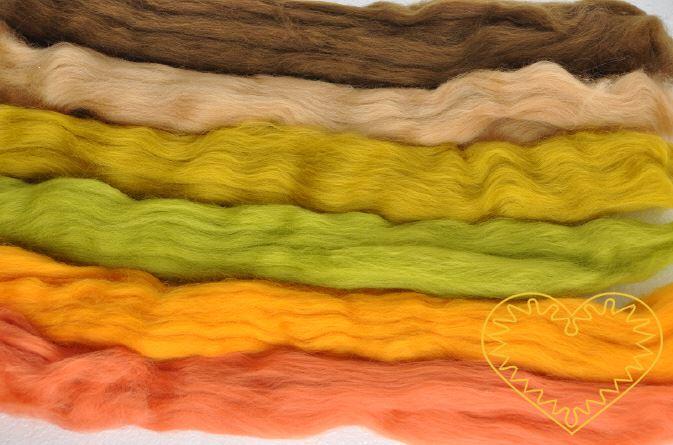 Ovčí rouno - vlna 6 barev podzimu 100 g. Krásná jemná vlna zkombinovaná do 6 k sobě ladících barevných odstínů, jemnost 20-21 mic. Vhodné na plstění suché i mokré.