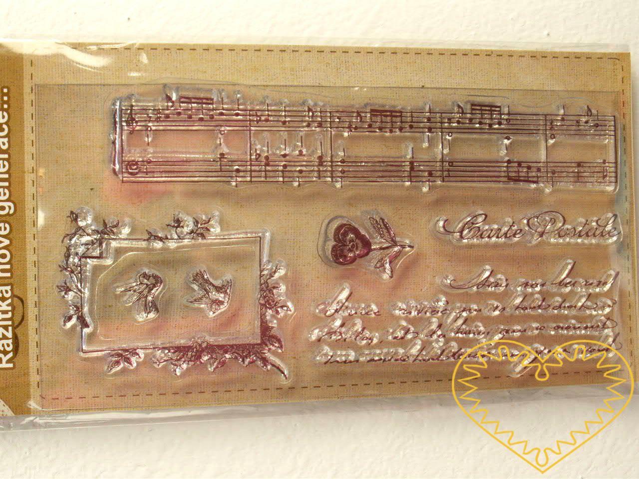 Gelová razítka - noty, ornament, písmo (8 x 14 cm). Velkou výhodou gelových razítek je to, že přesně vidíte místo, kam razítkujete. Lze snadno používat také k tisknutí na textil, hedvábí, keramiku, scrapbooking apod.