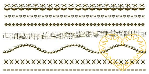 Gelová razítka - bordury úzké (9,5 x 20 cm). Velkou výhodou gelových razítek je to, že přesně vidíte místo, kam razítkujete. Lze snadno používat také k tisknutí na textil, hedvábí, keramiku, scrapbooking apod.