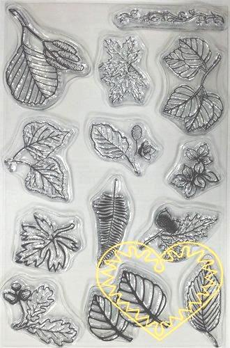 Gelová razítka - listy (10 x 15 cm). Velkou výhodou gelových razítek je to, že přesně vidíte místo, kam razítkujete. Lze snadno používat také k tisknutí na textil, hedvábí, keramiku, scrapbooking apod.