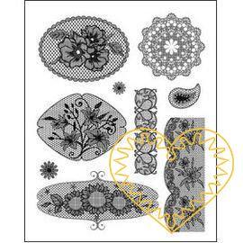 Gelová razítka - krajky s kytičkami (14 x 18 cm). Velkou výhodou gelových razítek je to, že přesně vidíte místo, kam razítkujete. Lze snadno používat také k tisknutí na textil, hedvábí, keramiku, scrapbooking apod.