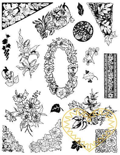 Gelová razítka - květinové bordury a květiny. Velkou výhodou gelových razítek je to, že přesně vidíte místo, kam razítkujete. Lze snadno používat také k tisknutí na textil, hedvábí, keramiku, scrapbooking apod.