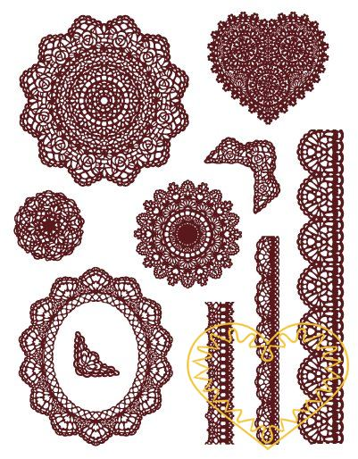Gelová razítka - krajka, bordury (14 x 18 cm). Velkou výhodou gelových razítek je to, že přesně vidíte místo, kam razítkujete. Lze snadno používat také k tisknutí na textil, hedvábí, keramiku, scrapbooking apod.
