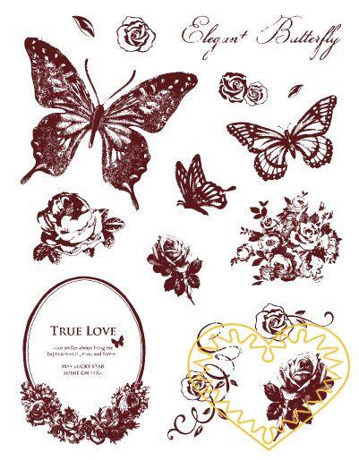 Gelová razítka - motýli, ornamenty (14 x 18 cm). Velkou výhodou gelových razítek je to, že přesně vidíte místo, kam razítkujete. Lze snadno používat také k tisknutí na textil, hedvábí, keramiku, scrapbooking apod.
