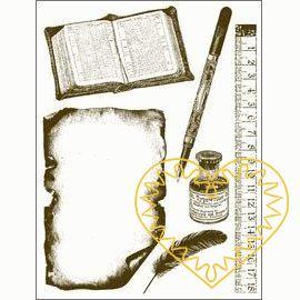 Gelová razítka - kniha, papír, inkoust, pravítko, pero, brko (15 x 20 cm). Velkou výhodou gelových razítek je to, že přesně vidíte místo, kam razítkujete. Lze snadno používat také k tisknutí na textil, hedvábí, keramiku, scrapbooking apod.