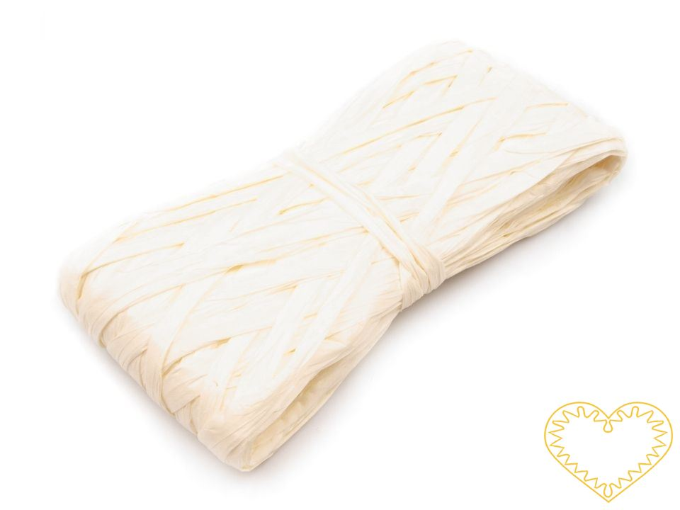 Bílá papírová stuha šíře - délka 20 mstuhy se hojně využívají nejen k tvorbě dekorací, přáníček, ale též při aranžování, k balení dárků a ve floristice. Je vhodná také na techniku twist art.
