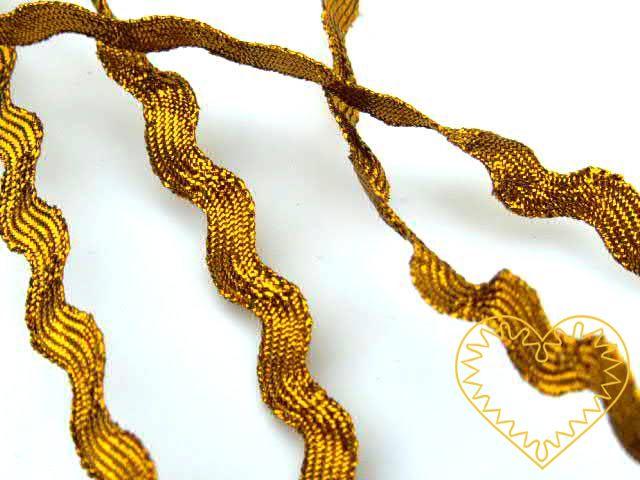 zlatá hadovka s lurexem, š=5 mm. Vhodné k dekorování, našívání, aranžování.